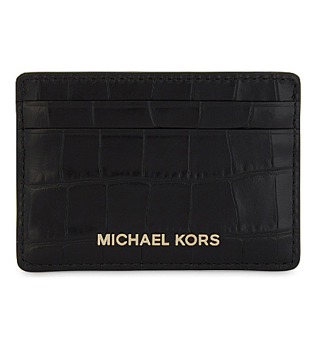 MICHAEL MICHAEL KORS Money Pieces crocodile-effect leather card holder (Black