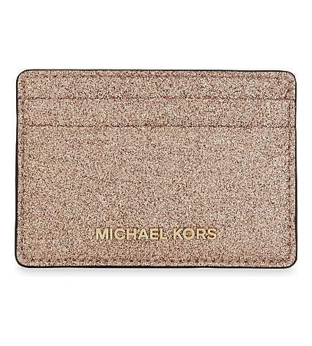 MICHAEL MICHAEL KORS Money Pieces metallic leather card holder (Rose+gold