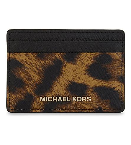 MICHAEL MICHAEL KORS Money Pieces leopardskin print leather card holder (Butterscotch