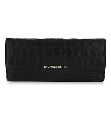 MICHAEL MICHAEL KORS Money Pieces crocodile-embossed leather flat wallet (Black