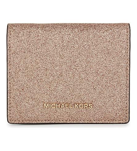MICHAEL MICHAEL KORS Money Pieces metallic leather wallet (Rose+gold