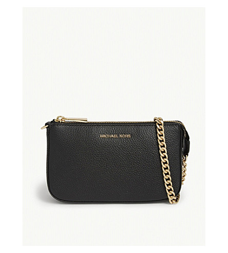 MICHAEL MICHAEL KORS Textured leather chain wallet (Black
