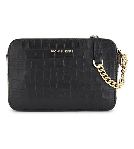 MICHAEL MICHAEL KORS Ginny medium crocodile-embossed leather cross-body bag (Black
