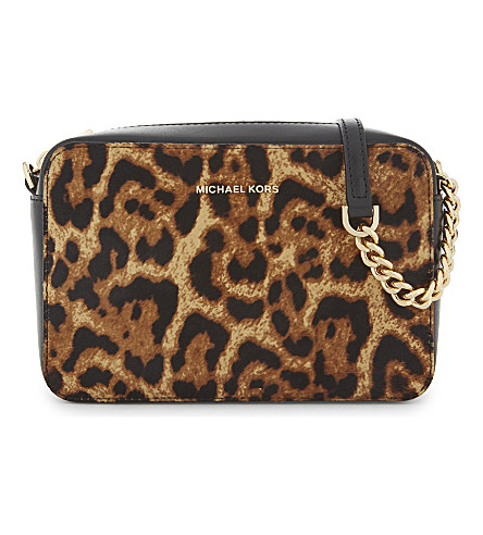 MICHAEL MICHAEL KORS Ginny leopard calf hair cross-body bag (Butterscotch