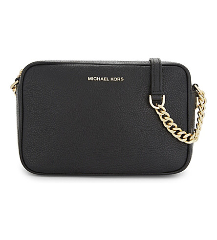 MICHAEL MICHAEL KORS Ginny medium grained leather cross-body bag (Black