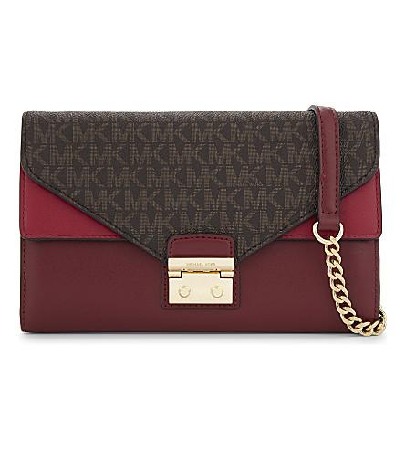 MICHAEL MICHAEL KORS Sloan large leather wallet-on-chain (Brn/mlbry/cr