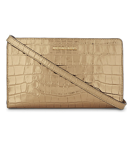 MICHAEL MICHAEL KORS Jet Set Travel embossed leather cross-body bag (Gold