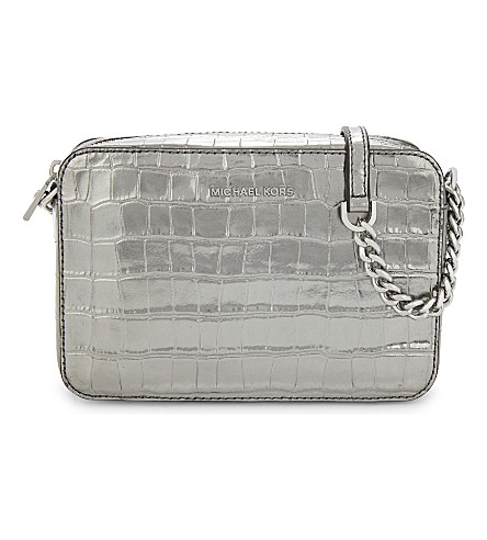 MICHAEL MICHAEL KORS Ginny medium metallic crocodile-embossed leather cross-body bag (Gunmetal