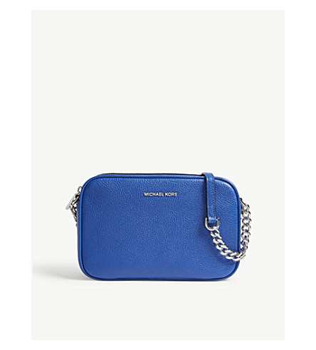 MICHAEL MICHAEL KORS Ginny medium grained leather cross-body bag (Elctric+blue