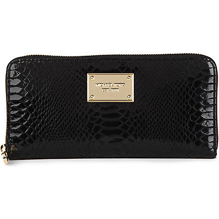 MICHAEL MICHAEL KORS Jet Set mock-python wallet (Black
