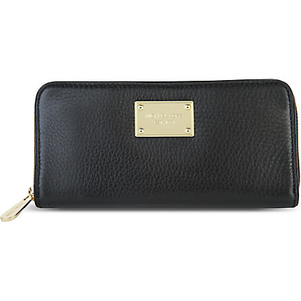 MICHAEL KORS Jet Set pebbled leather wallet (Black