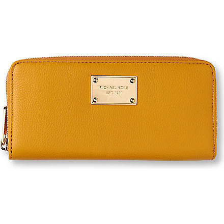 MICHAEL KORS Jet Set pebbled leather wallet (Marigold