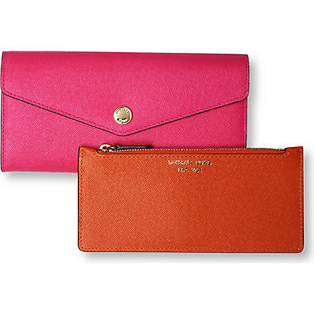 MICHAEL KORS Saffiano leather tri-fold wallet (Zinnia