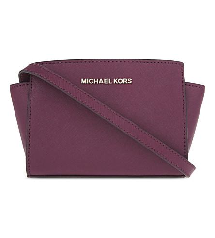 MICHAEL MICHAEL KORS Selma mini Saffiano leather messenger bag (Plum