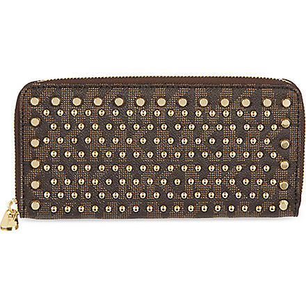 MICHAEL KORS Jet Set Continental studded wallet (Brown