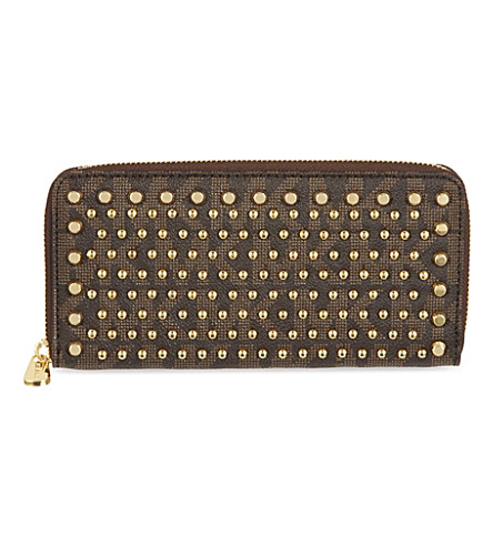 MICHAEL MICHAEL KORS Jet Set Continental studded wallet (Brown