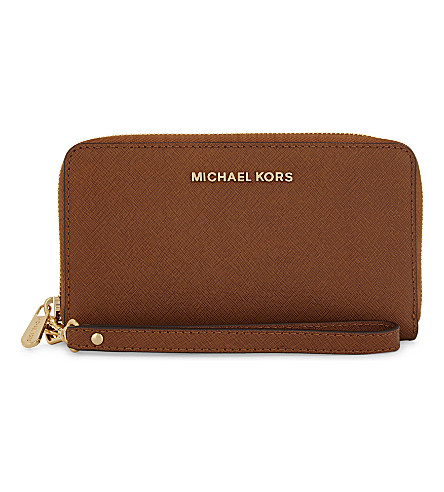 MICHAEL MICHAEL KORS Jet Set Travel large flat embossed leather phone wallet (Luggage