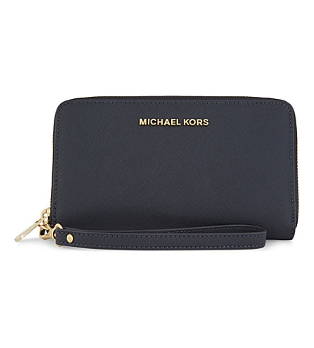 MICHAEL MICHAEL KORS Jet Set Travel large leather phone wallet (Admiral