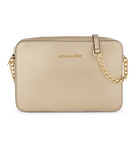 MICHAEL MICHAEL KORS Jet Set leather cross-body bag (Pale+gold
