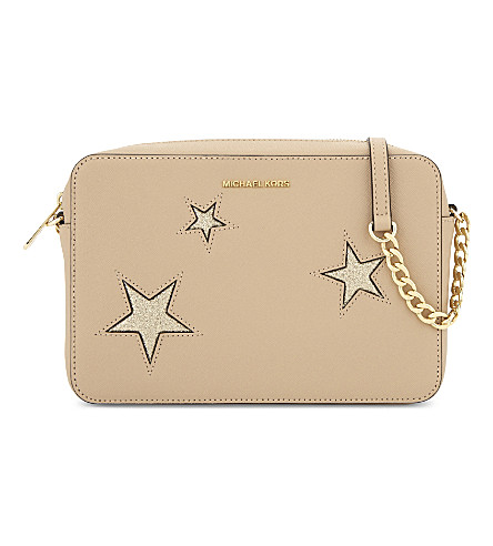 MICHAEL MICHAEL KORS Glitter star large saffiano leather cross-body (Oyster / gold