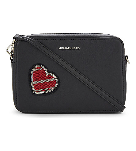 MICHAEL MICHAEL KORS Heart patch medium leather cross-body bag (Black
