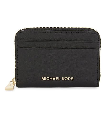 MICHAEL MICHAEL KORS Money Pieces Saffiano leather zipped card case (Black