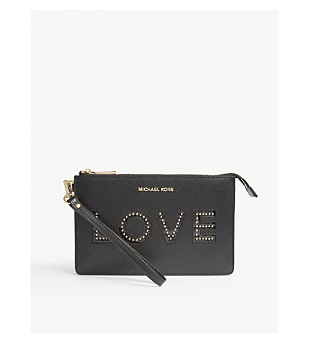 MICHAEL MICHAEL KORS Gusset love leather wristlet (Black