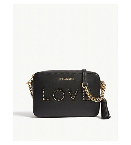 MICHAEL MICHAEL KORS Ginny love leather camera bag (Black