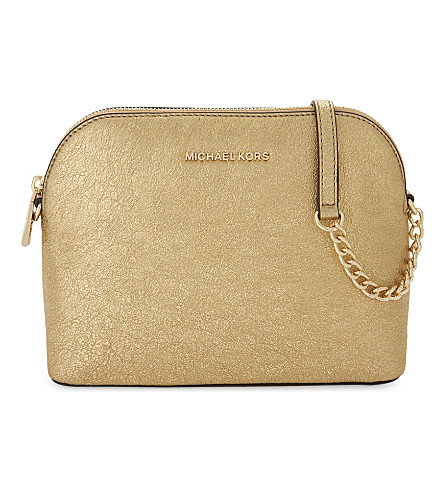 MICHAEL MICHAEL KORS Metallic leather large dome cross-body bag (Gold