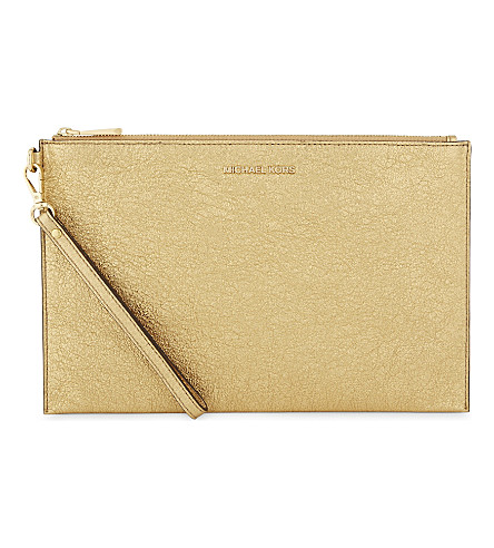 MICHAEL MICHAEL KORS Crackled leather extra-large clutch (Gold