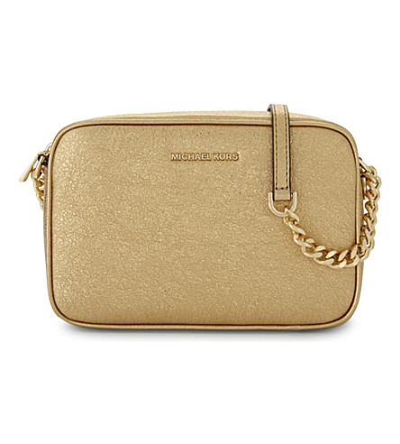MICHAEL MICHAEL KORS Ginny medium metallic leather cross-body bag (Gold