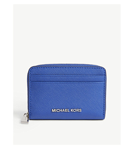 MICHAEL MICHAEL KORS Money Pieces Saffiano leather zipped card case (Elctric+blue