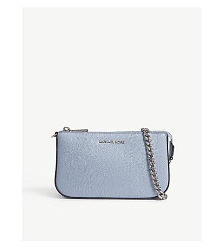 MICHAEL MICHAEL KORS Medium Saffiano leather pouch (Pale+blue