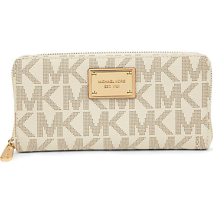 MICHAEL KORS Jet Set grainy wallet (Vanilla