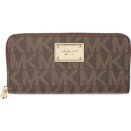 MICHAEL KORS Jet Set monogram grainy wallet (Brown