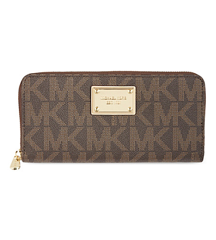 MICHAEL MICHAEL KORS Jet Set monogram grainy wallet (Brown