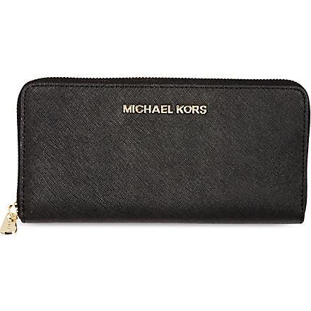 MICHAEL KORS Jet Set saffiano leather wallet (Black