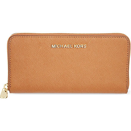 MICHAEL KORS Jet Set saffiano leather wallet (Luggage
