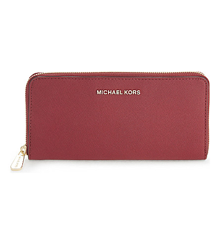 MICHAEL MICHAEL KORS Jet Set leather continental travel wallet (Cherry