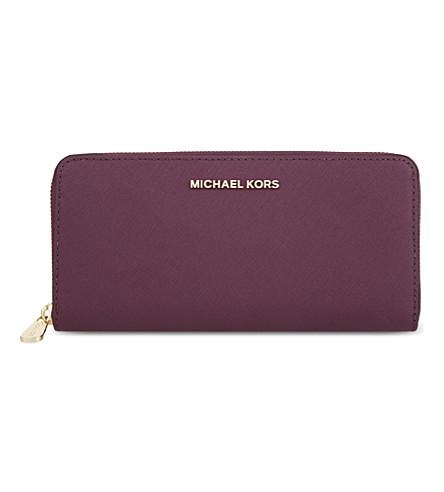 michael michael kors jet set leather continental travel wallet in plum rh modesens com