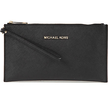 MICHAEL KORS Jet Set saffiano leather clutch (Black