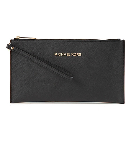 MICHAEL MICHAEL KORS Jet Set saffiano leather clutch (Black