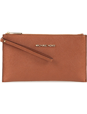MICHAEL MICHAEL KORS Jet Set saffiano leather clutch