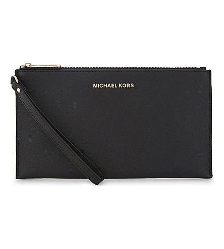 MICHAEL MICHAEL KORS Jet set travel leather pouch (Black