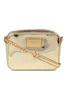 MICHAEL KORS Jet Set metallic leather cross-body wallet