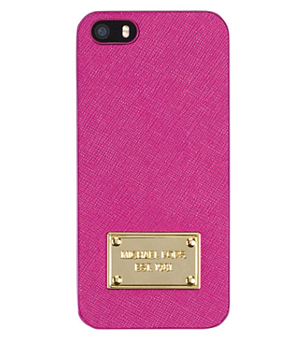 MICHAEL MICHAEL KORS Saffiano leather phone cover (Raspberry