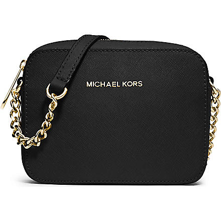 MICHAEL KORS Jet Set Travel saffiano leather cross-body bag (Black