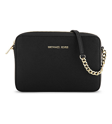 MICHAEL MICHAEL KORS Jet Set saffiano leather cross-body bag (Black