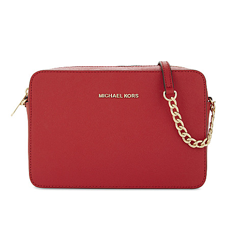 MICHAEL MICHAEL KORS Jet Set leather cross-body bag (Bright+red