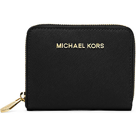 MICHAEL KORS Small saffiano leather wallet (Black